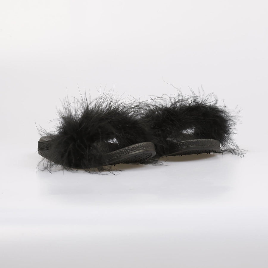 Harper Fluffy Sliders Black - Little Attitude