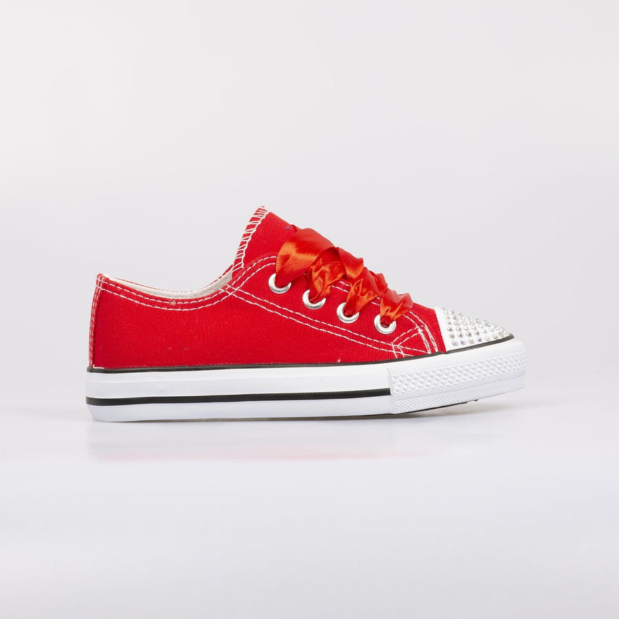 Daisy Diamante Toe Sneakers Red - Little Attitude