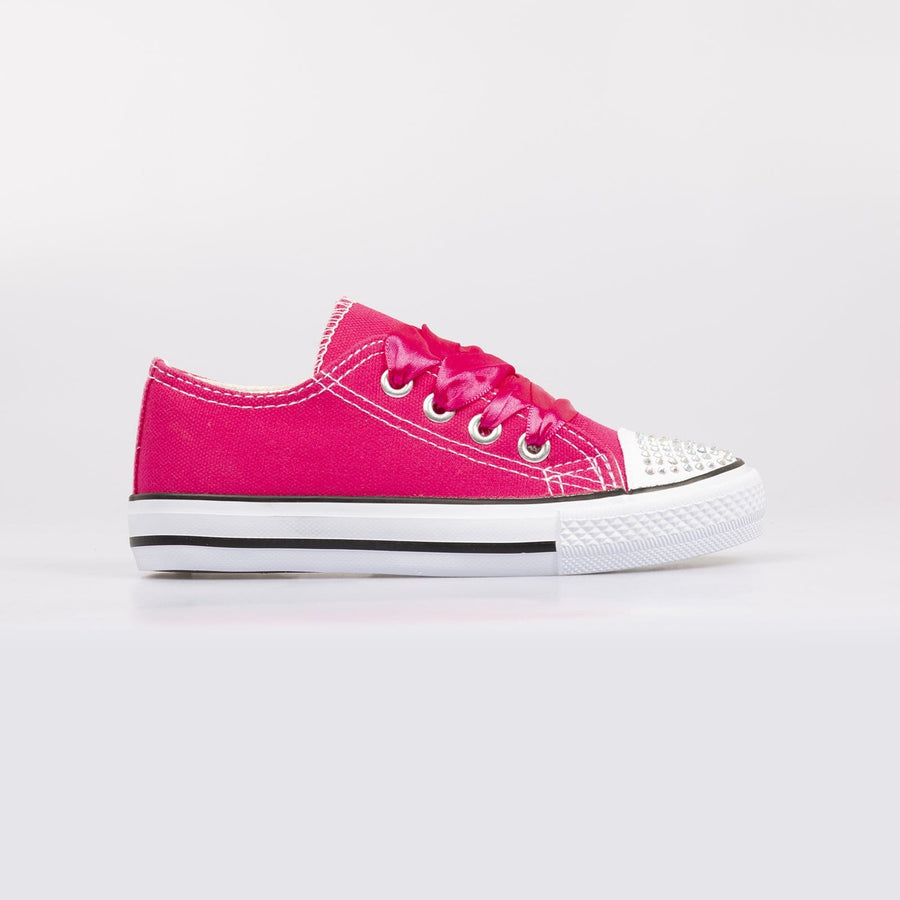 Daisy Diamante Toe Sneakers Fuschia - Little Attitude