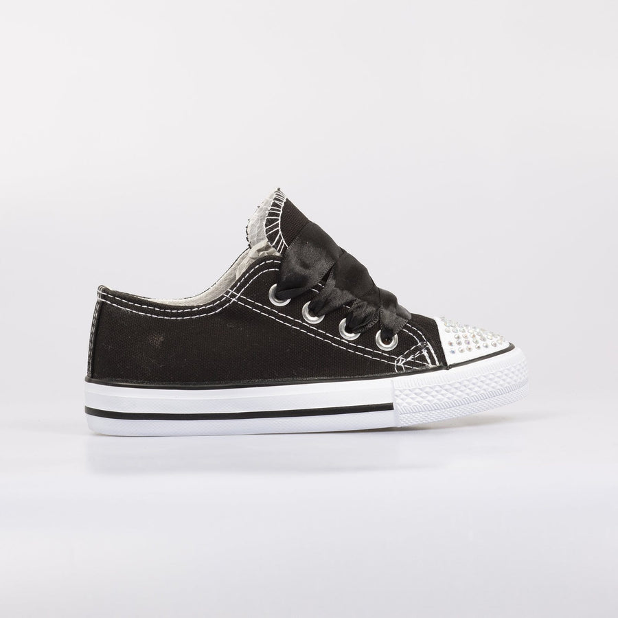Daisy Diamante Toe Sneakers Black - Little Attitude