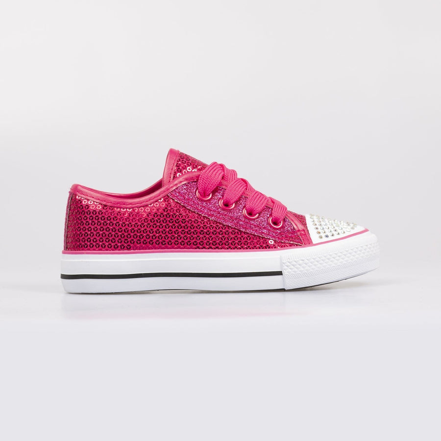 Lola Sequin Sneakers Fuschia - Little Attitude