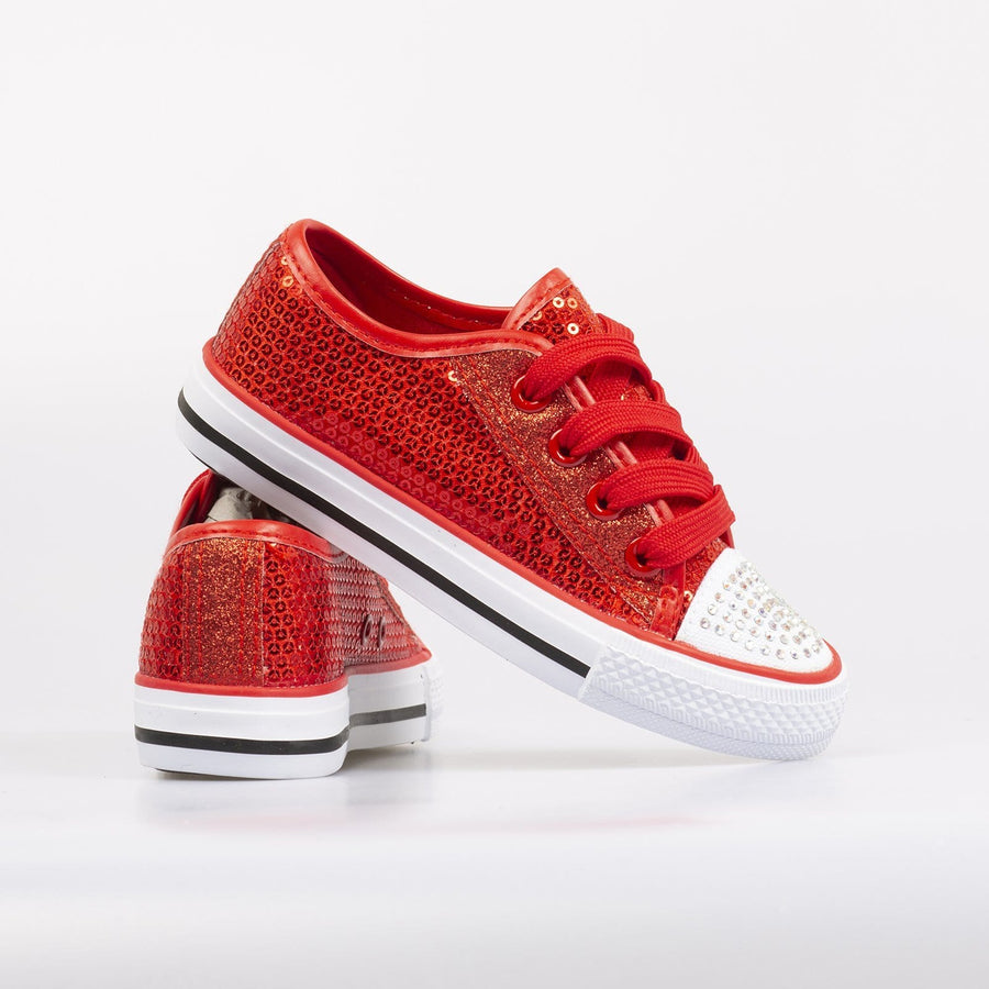 Lola Sequin Sneakers Red - Little Attitude