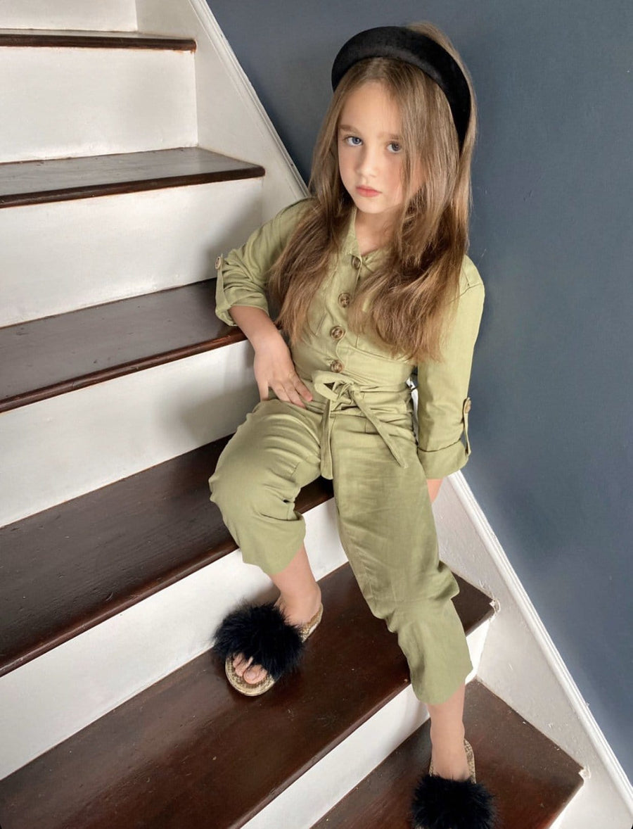 Missie Military Jumpsuit Khaki From Little Attitude