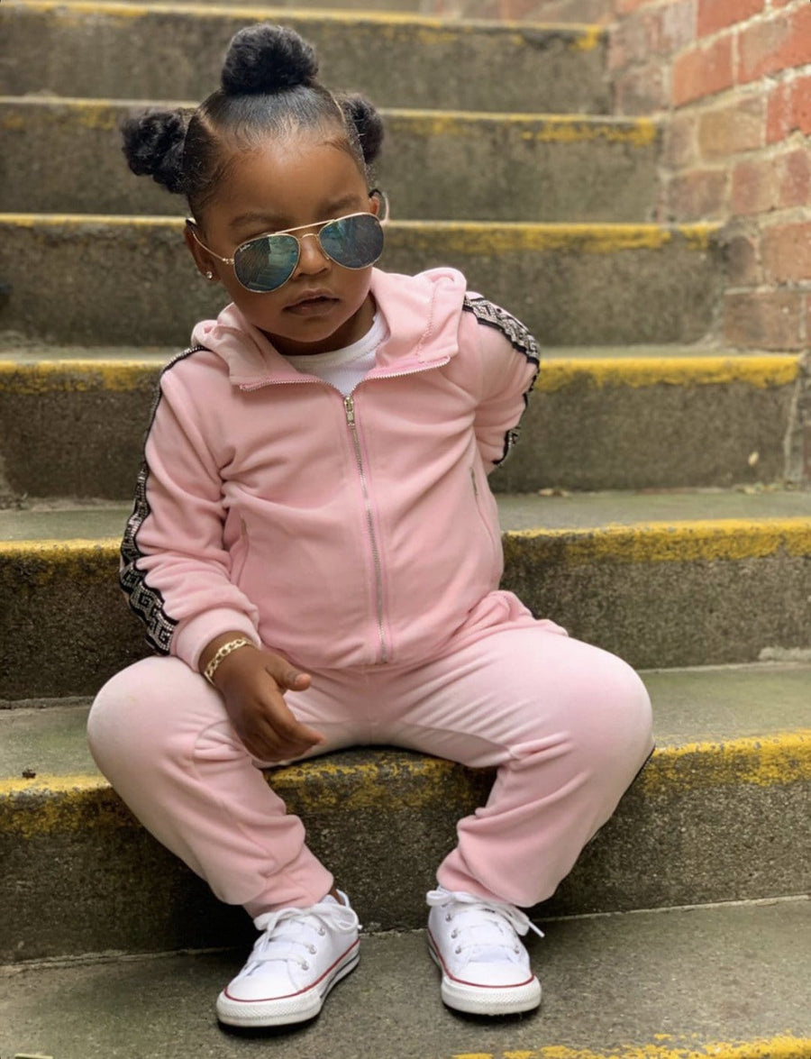 Lia Sequin Design Zip Up Tracksuit Pink From Little Attitude