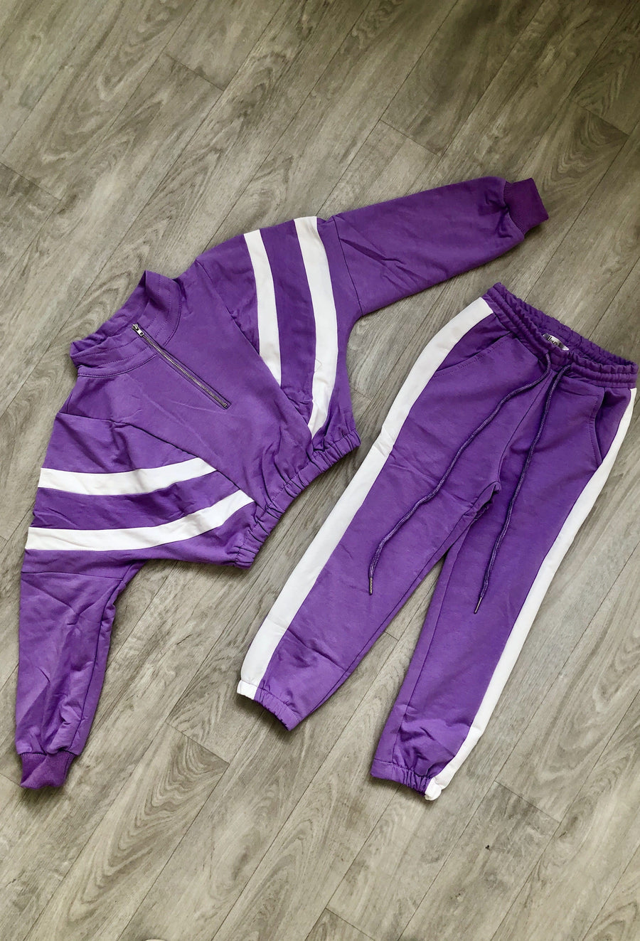 Fleur Sport Stripe Half Zip Tapered Tracksuit Purple/White