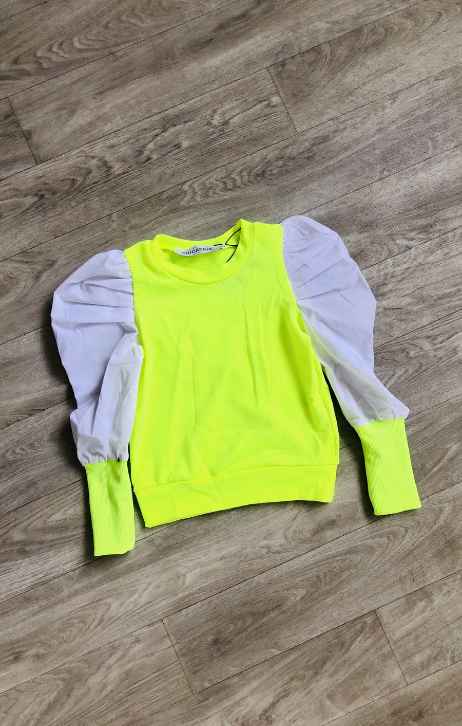 Jade Puff Sleeve Soft Knitted Crew Neck Top Neon Green/White From Little Attitude