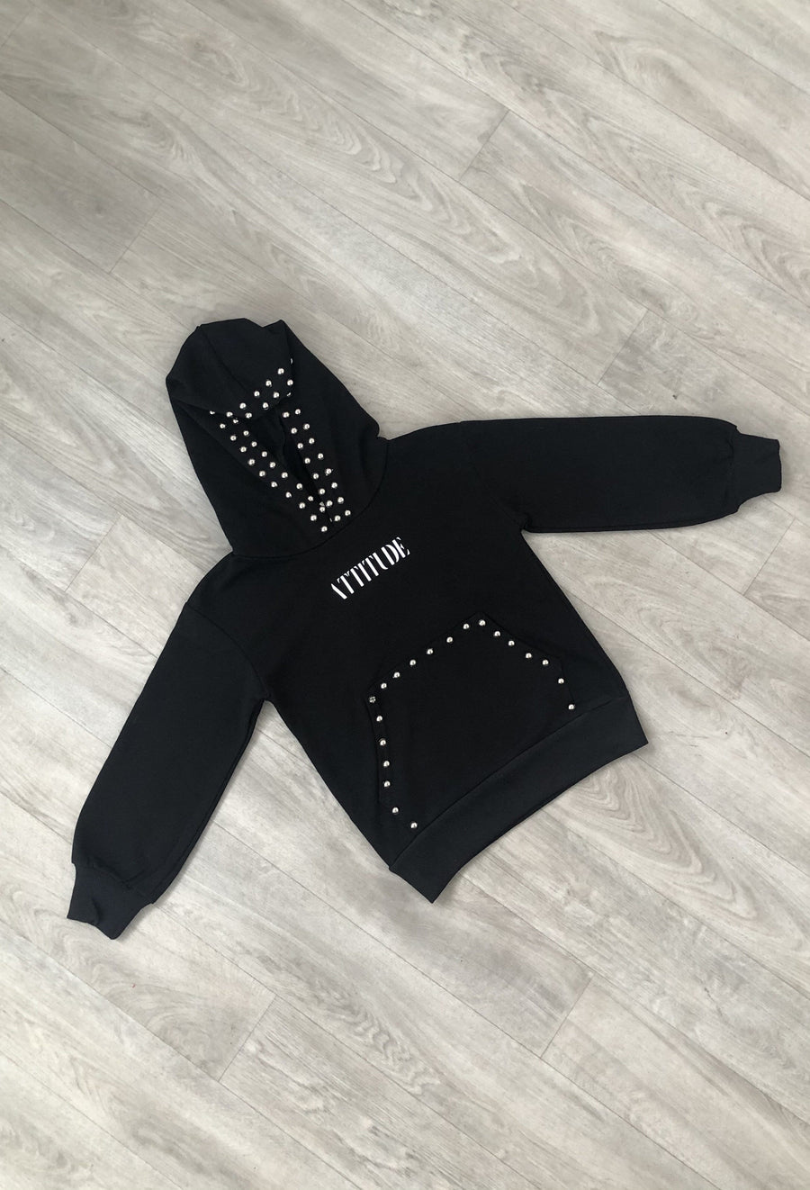 Taylor Studded Hoody Black  From Little Attitude
