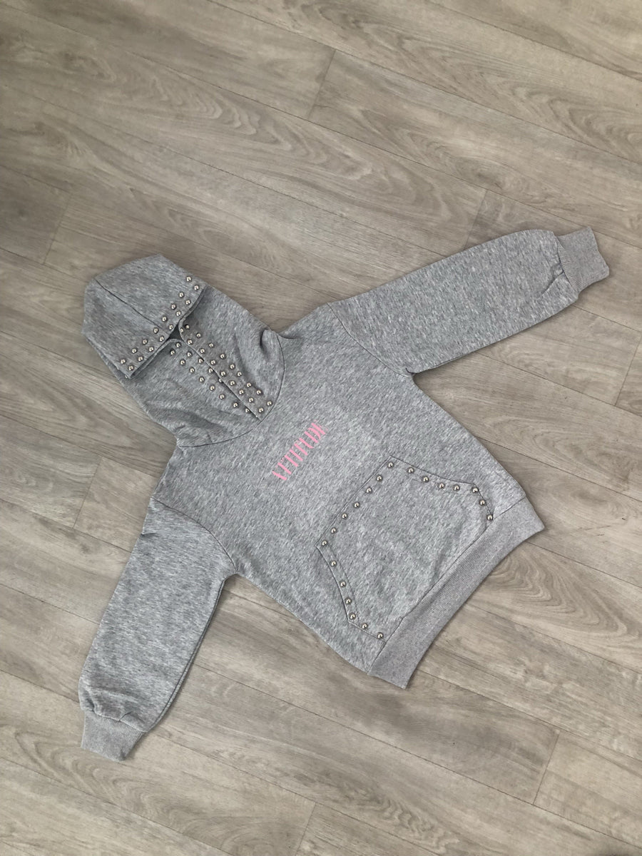 Taylor Studded Hoody Grey From Little Attitude
