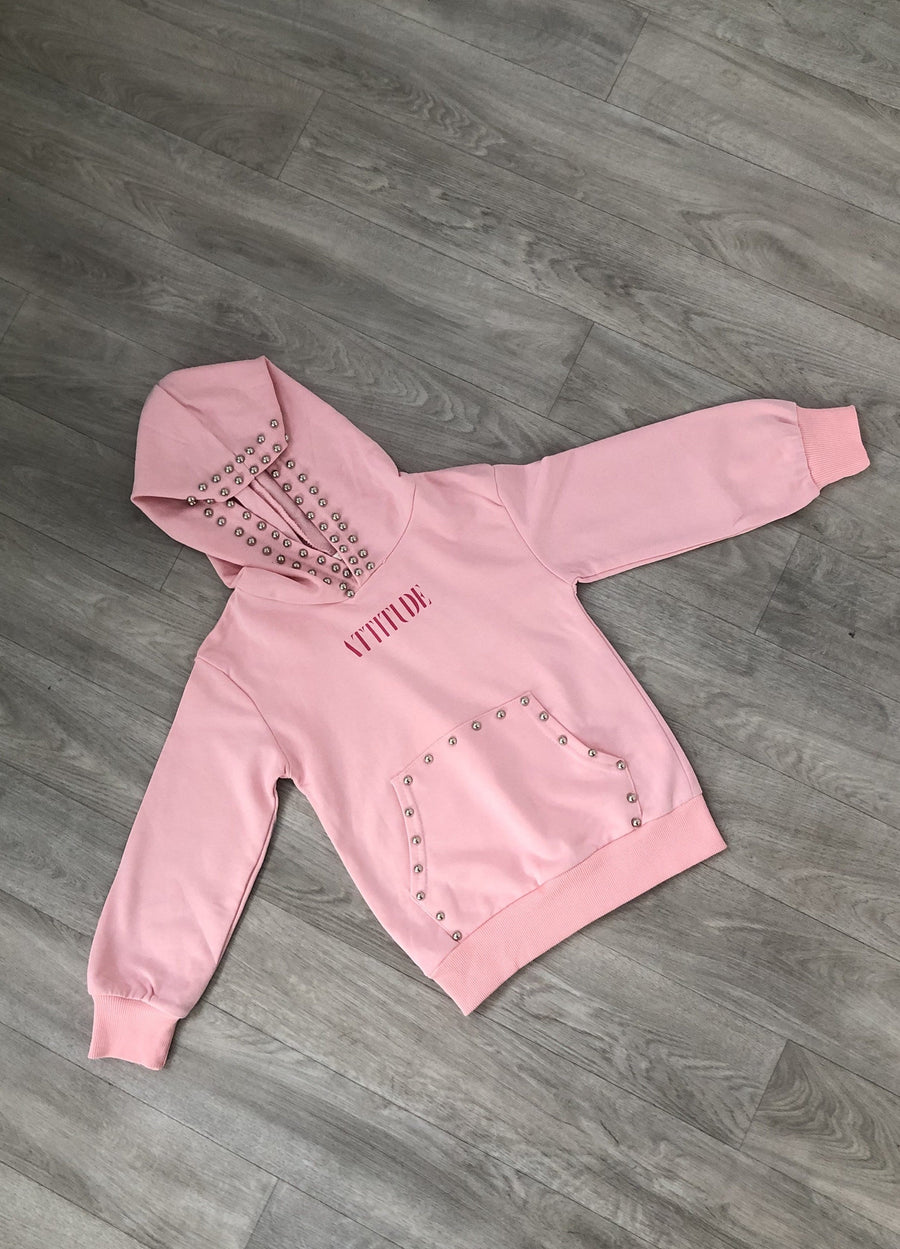 Taylor Studded Hoody Pink From Little Attitude