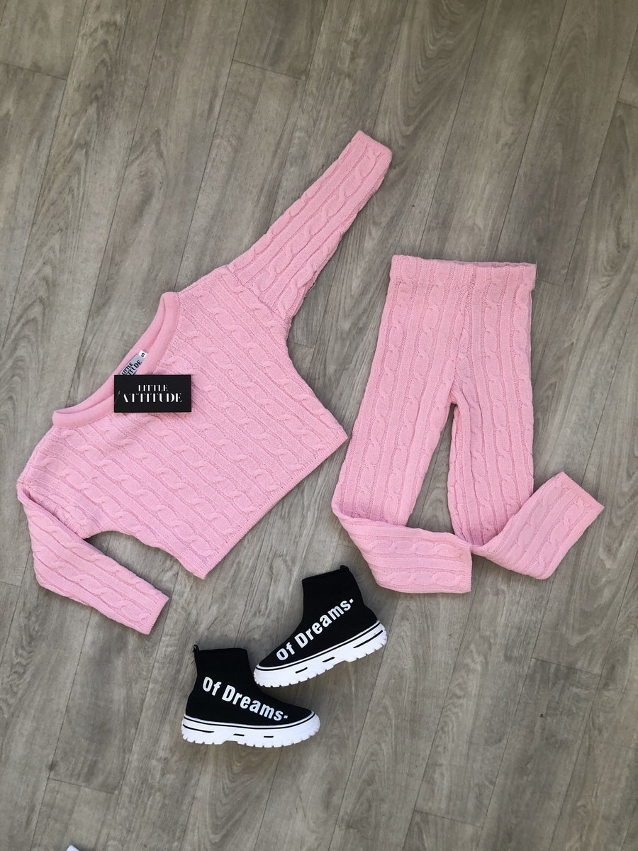 Anha Slim Fit Wide Neck Knitted Co-Ord Lounge Set Pretty Pink