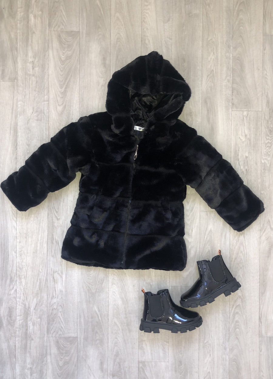 Calla Stitch Detail Cosy Faux Fur Hooded Zip Up Coat Black From Little Attitude