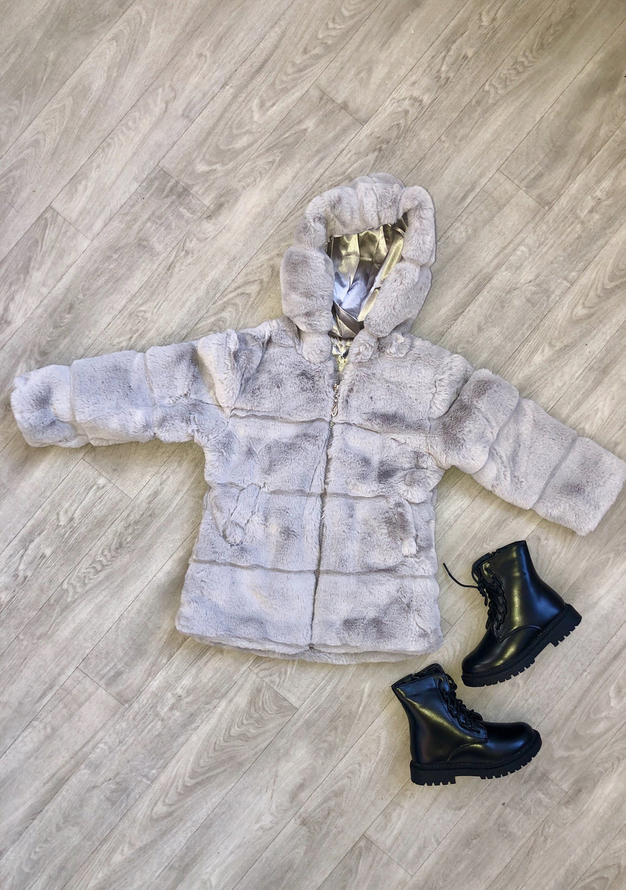 Calla Stitch Detail Cosy Faux Fur Hooded Zip Up Coat Grey From Little Attitude