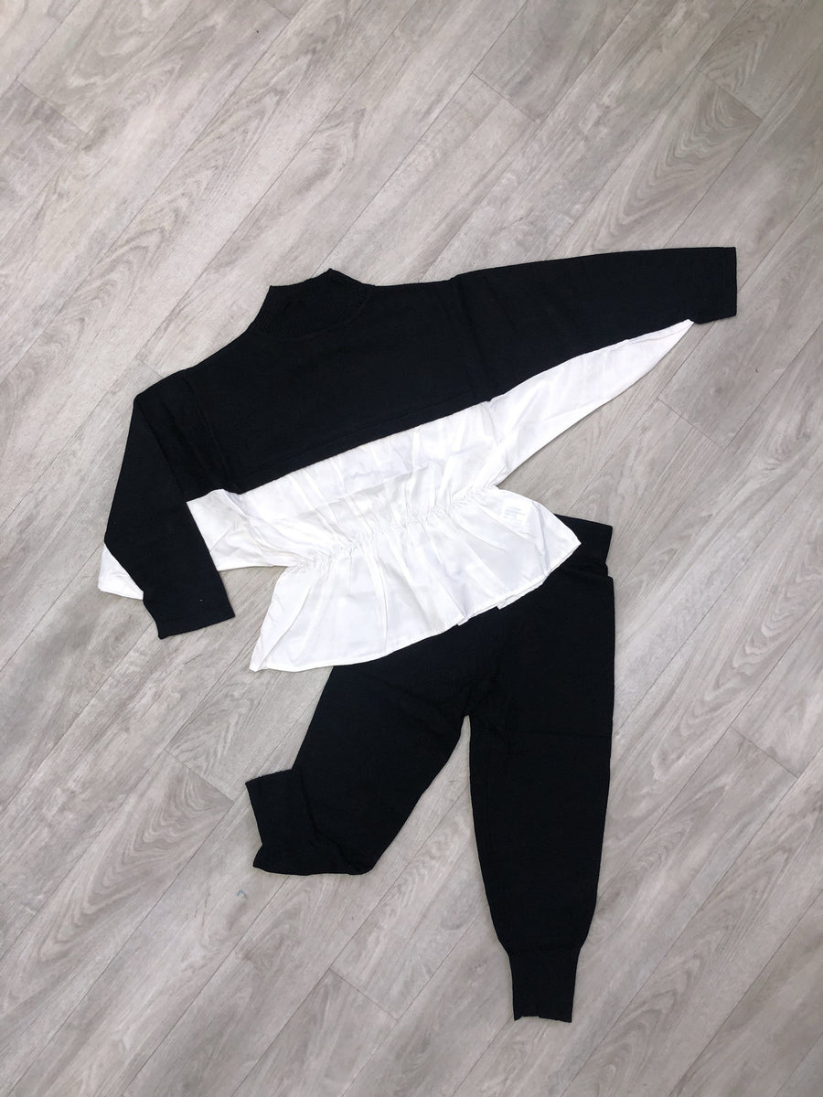 Riley Cosy Crew Neck Co-Ord Lounge Set Black