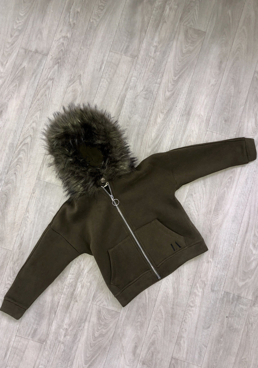 Jada Limited Edition LA Print Zip Faux Fur Cosy Hooded Jacket Army Green/Black