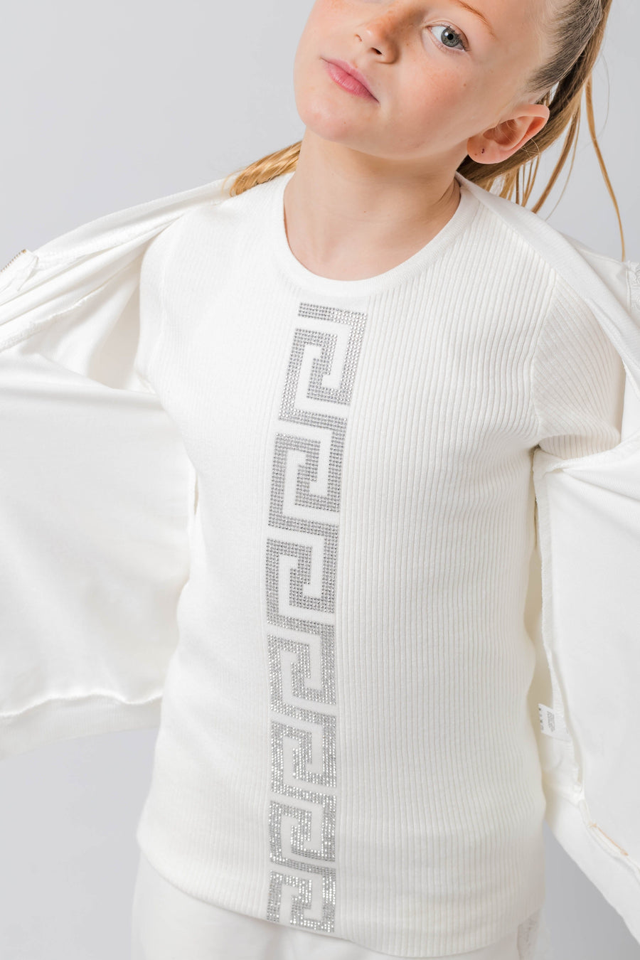 Ruby Diamante Pattern Detail Long Sleeve Top White