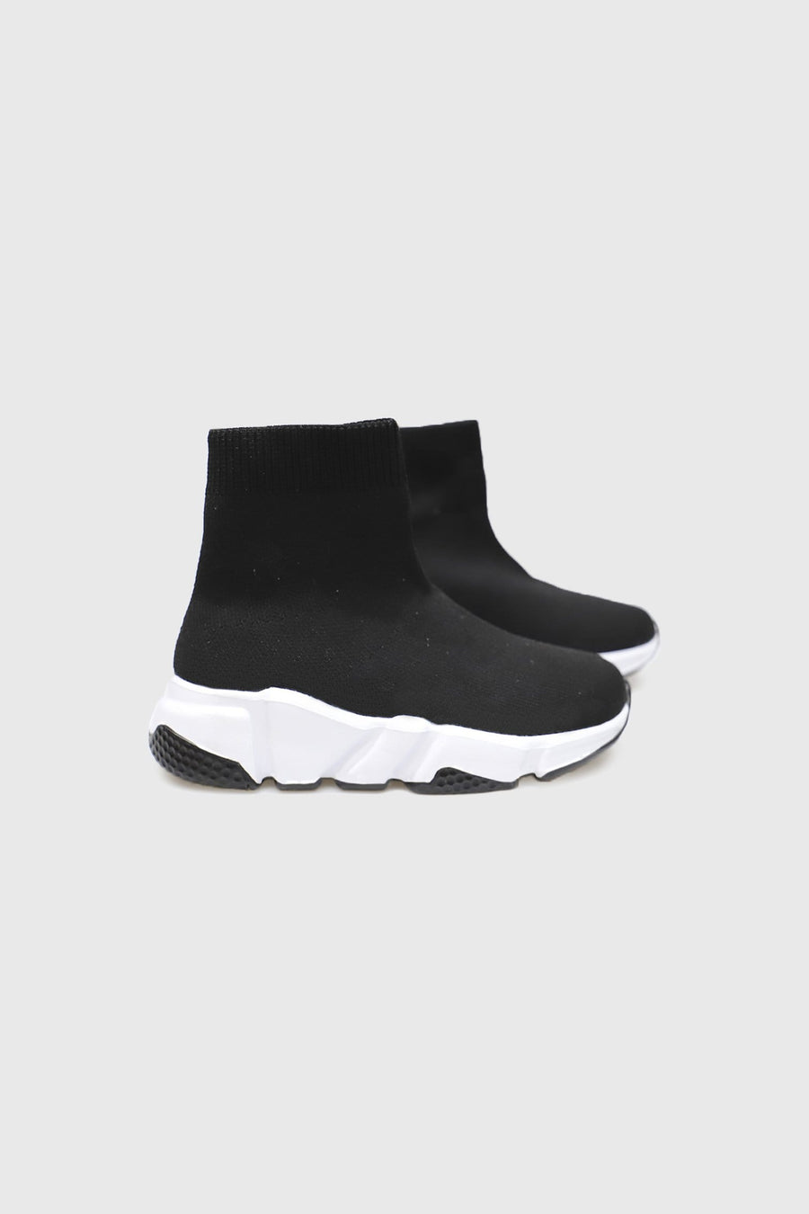 Ava Mid Ankle Sock Trainers in Black Knit