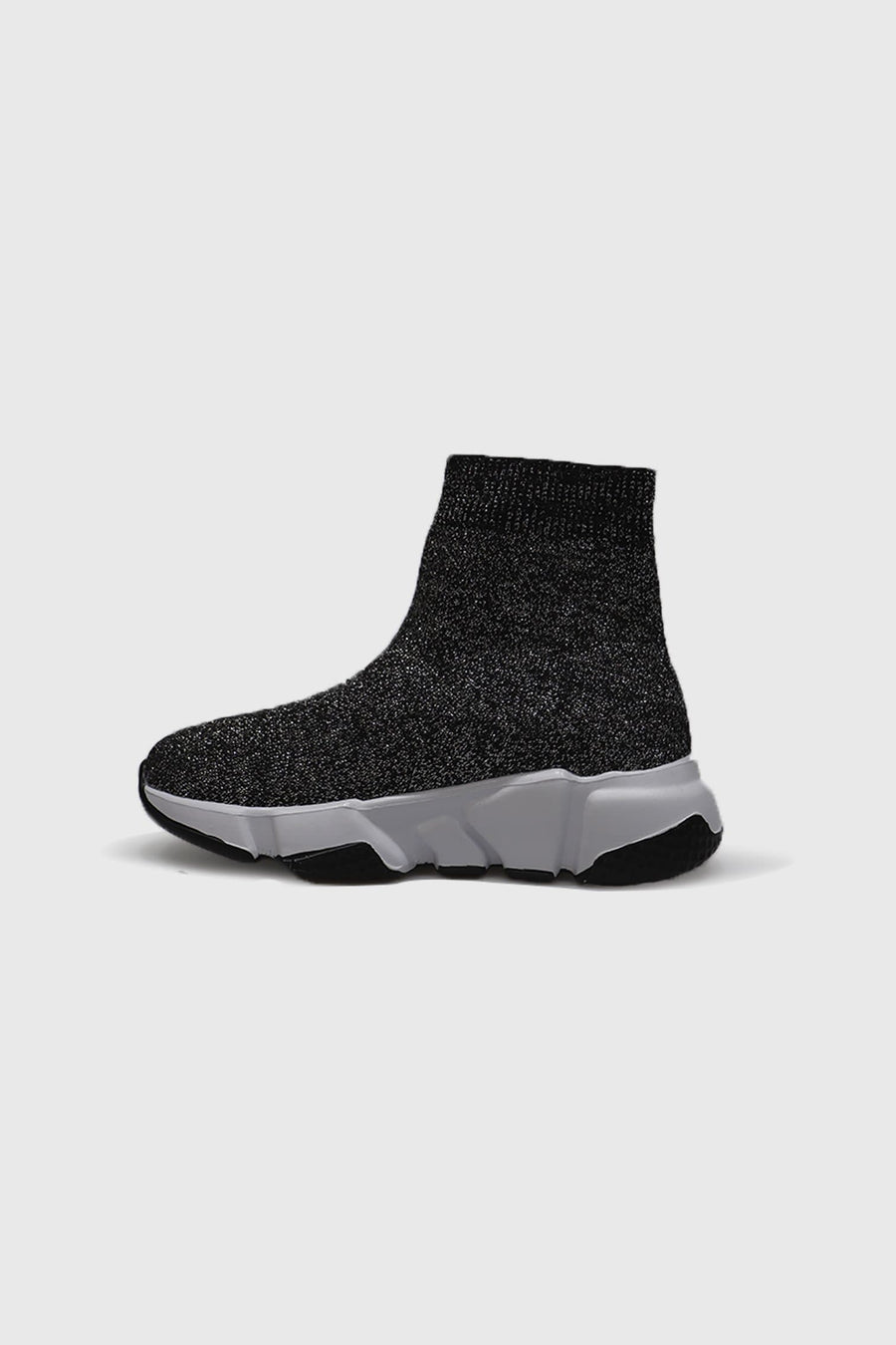 Ava Mid Ankle Sock Trainers in Black Glitter Knit