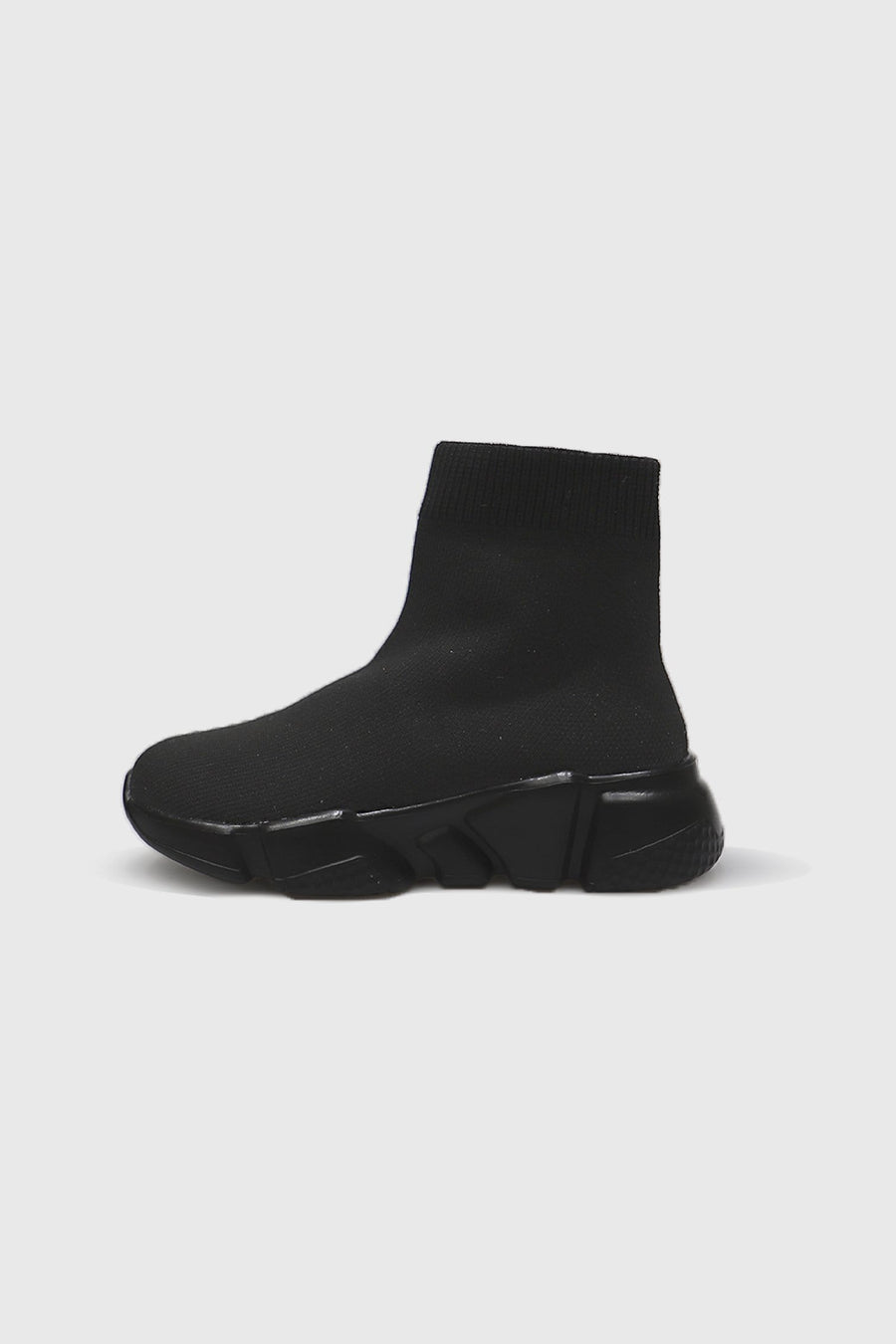 Ava Mid Ankle Sock Trainers in All Black Knit