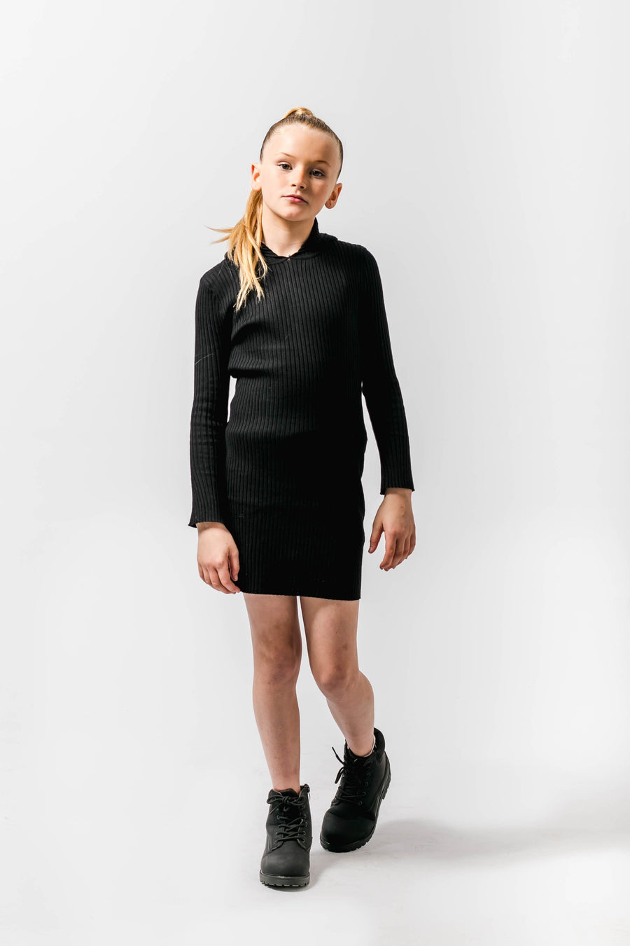 Emilia Ribbed Detail Knitted Mini Hooded Dress Black
