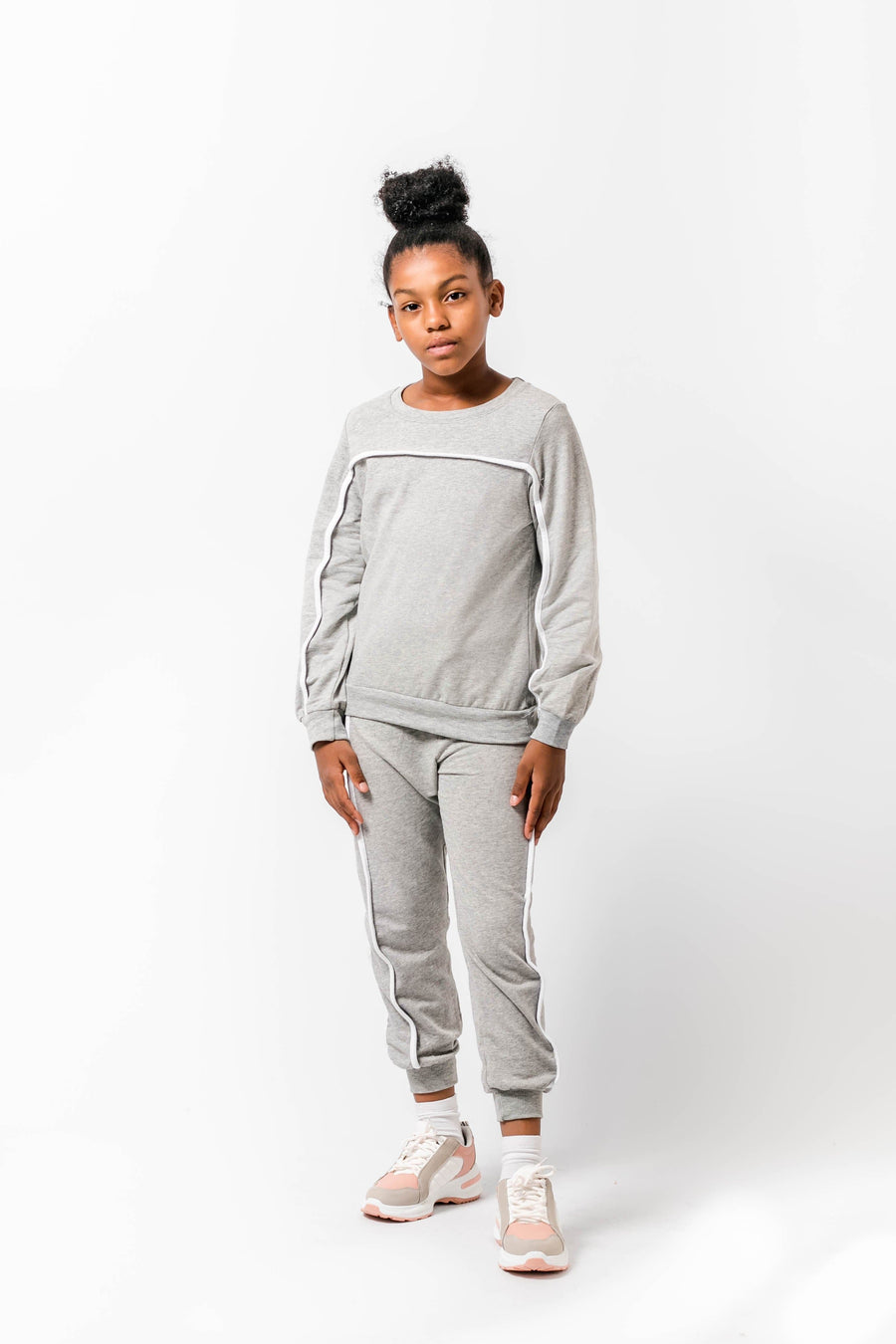 Penelope Grey Slim Fit Tracksuit With White Piping From Little Attitude
