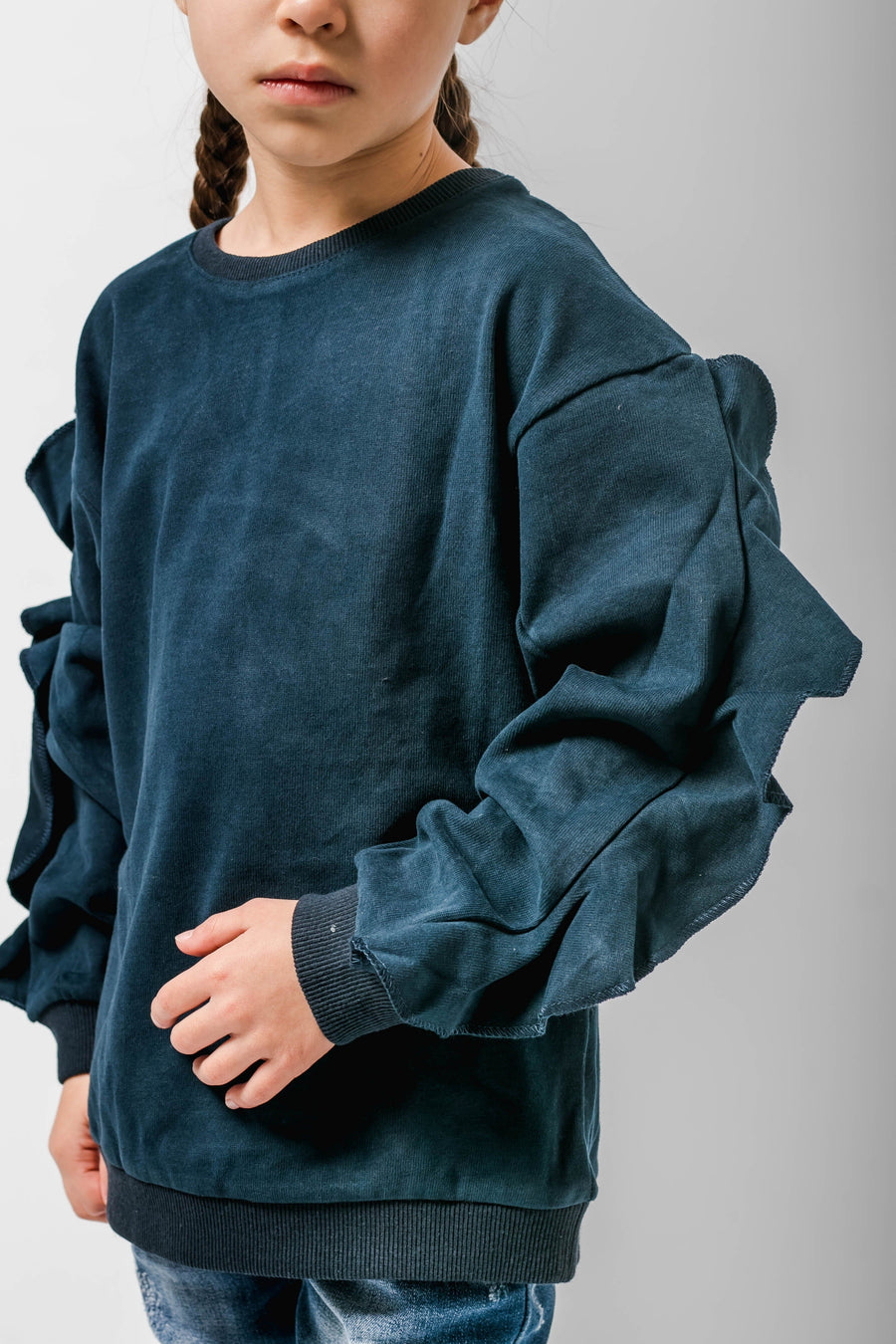 Giselle Frill Detail Long Sleeve Sweatshirt Navy