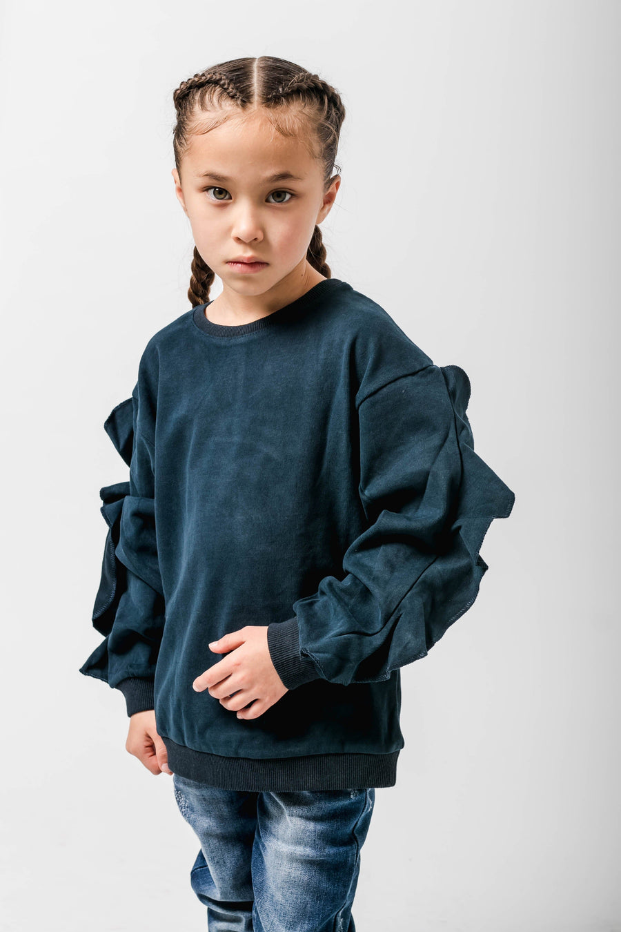 Giselle Long Sleeve Jumper With Frills In Navy Blue From Little Attitude.