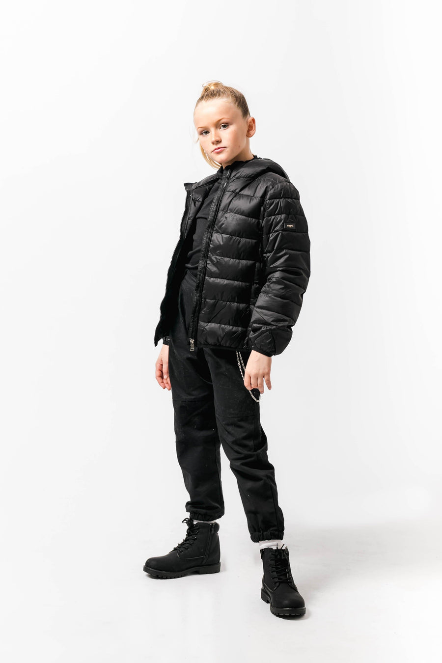 Mia Black Short Fitted Puffa Jacket From Little Attitude