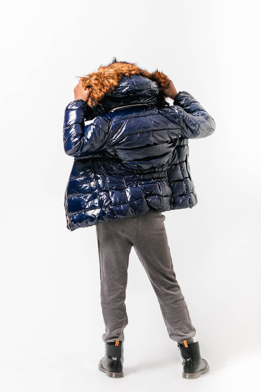 Trinity Faux Fur Hooded Vinyl Puffer Jacket Navy