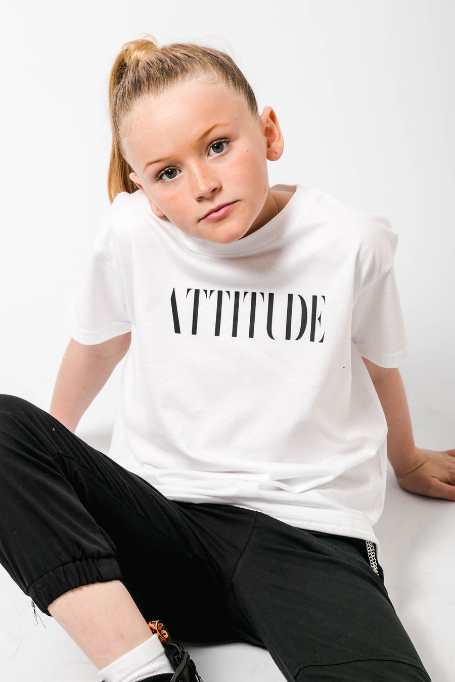Attitude Printed Oversized T Shirt White/Black