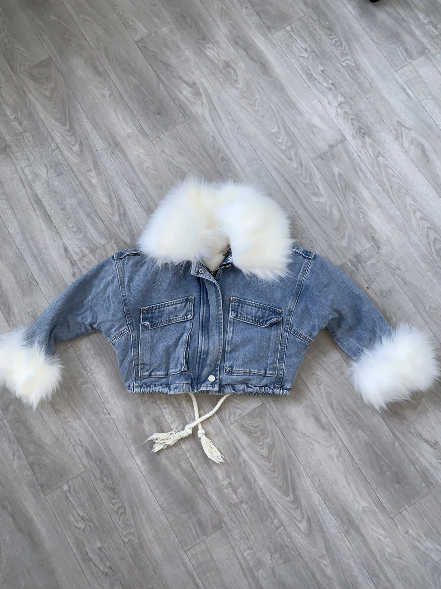 Katie Faux Fur Lined Denim Jacket White With Detachable Lining And Collar