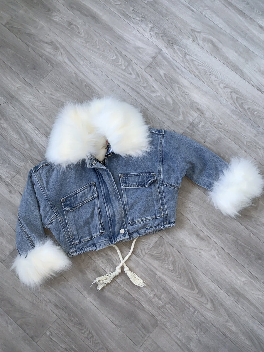 Katherine Tie Waist White Faux Fur Lined Cropped Denim Jacket Blue From Little Attitude