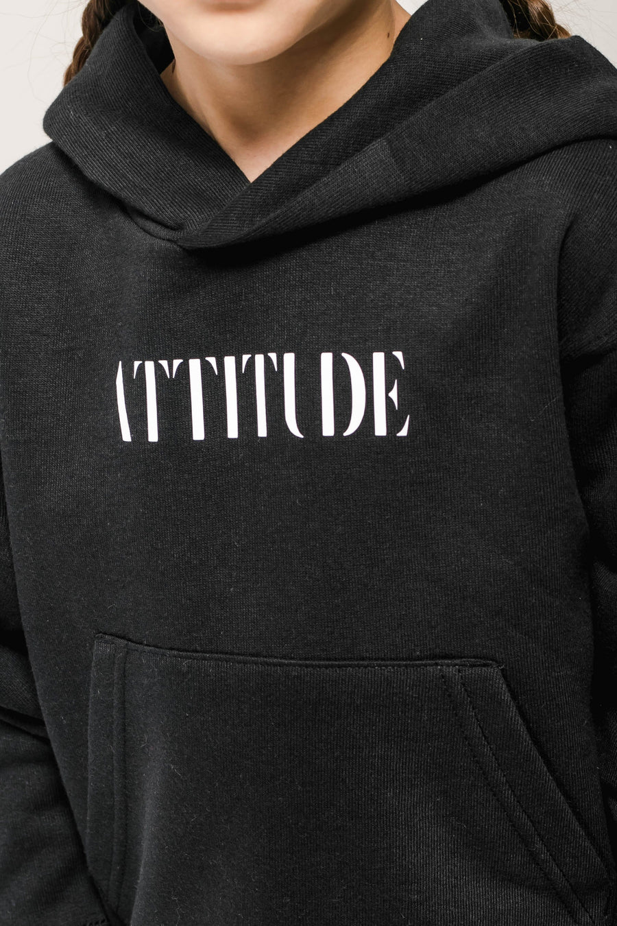 Attitude Printed Oversized Hoody Black/White
