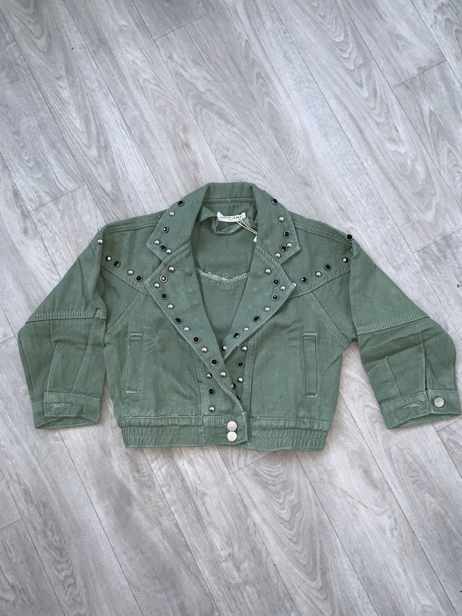 Emmy Studded Detail Cropped Button Denim Jacket Khaki From Little Attitude