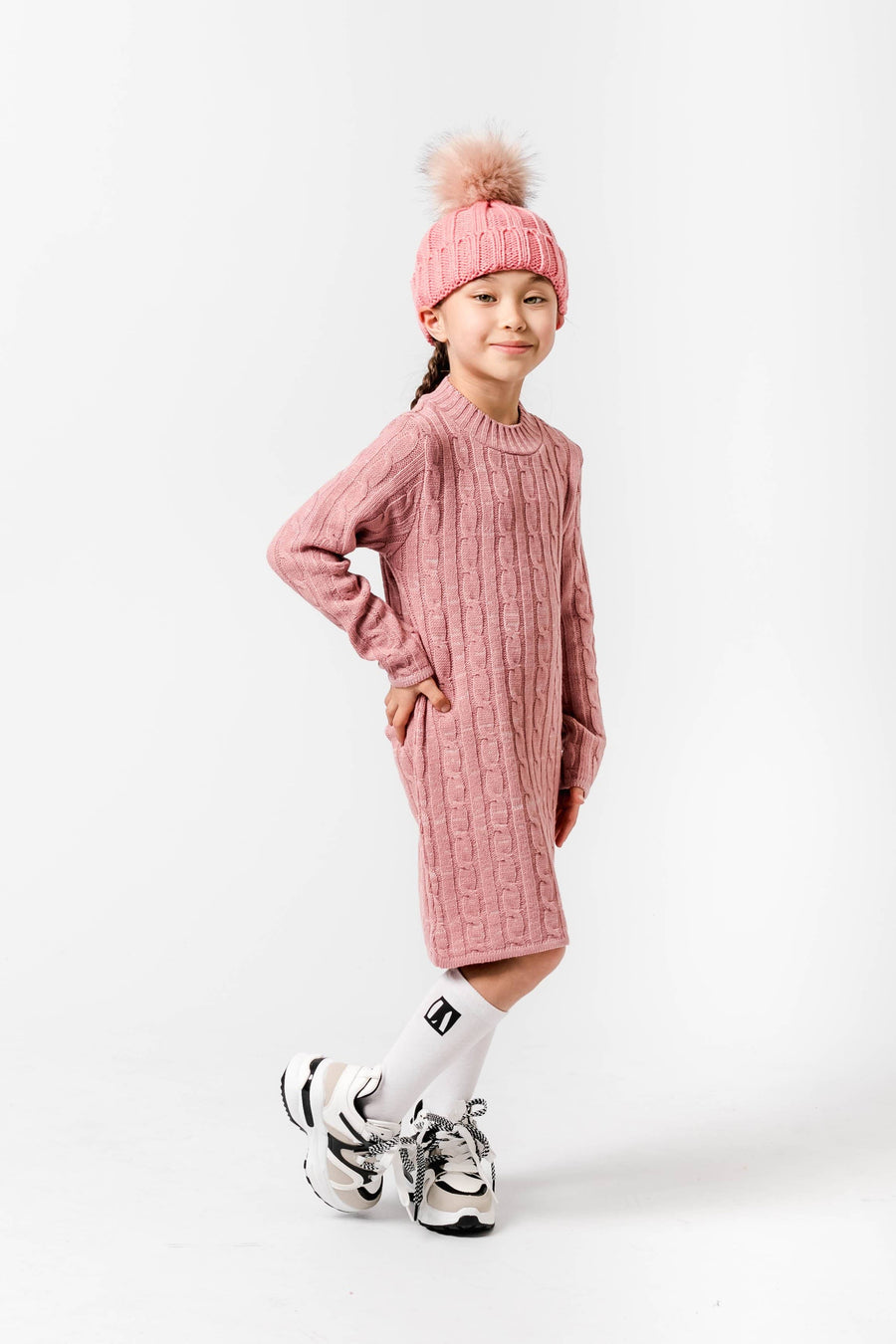 Courtney Crew Neck Knitted Midi Jumper Dress Pink
