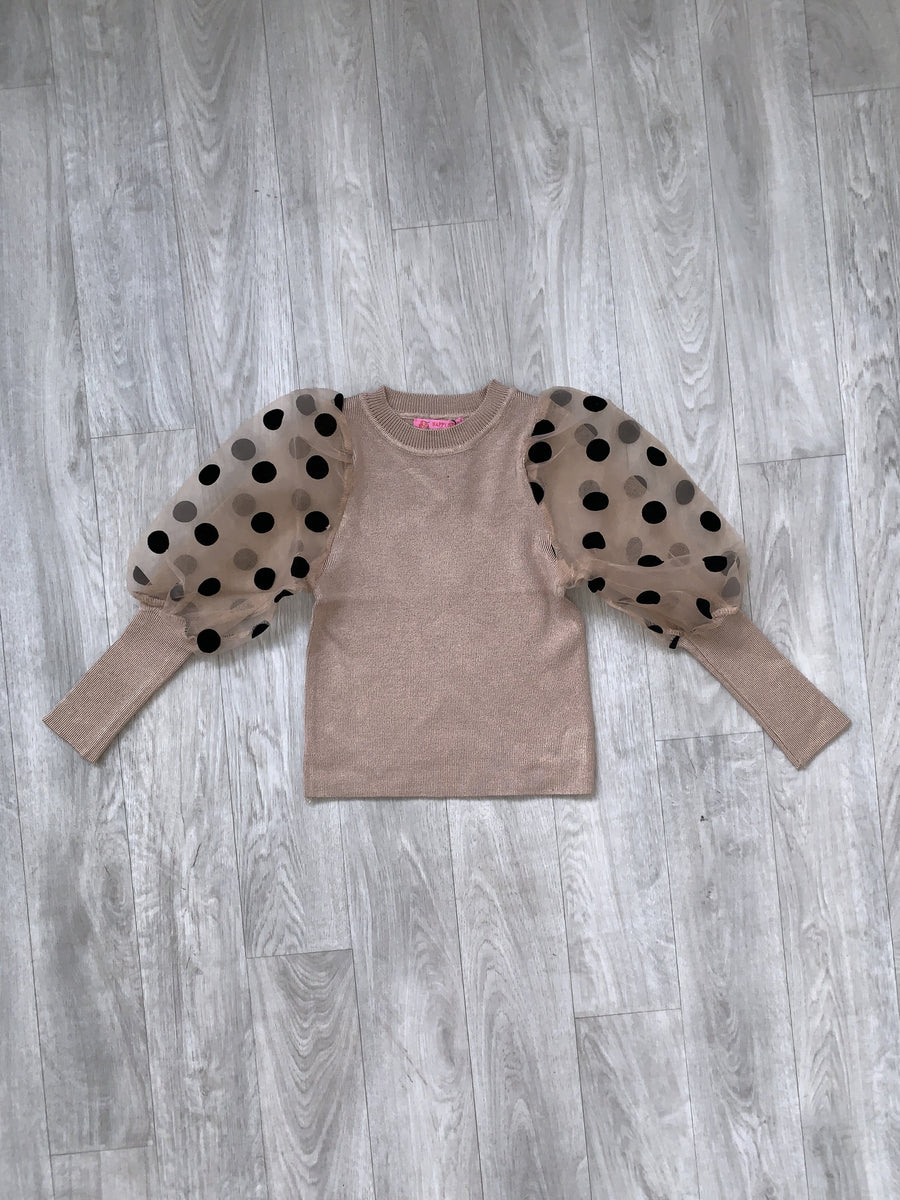 Jade Polka Dot Puff Sleeve Top Camel  From Little Attitude