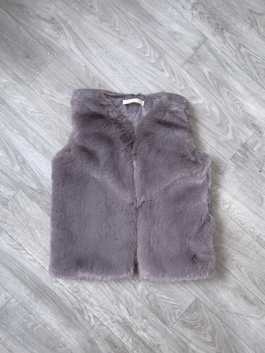 Sylvia Faux Fur Gilet Grey From Little Attitude