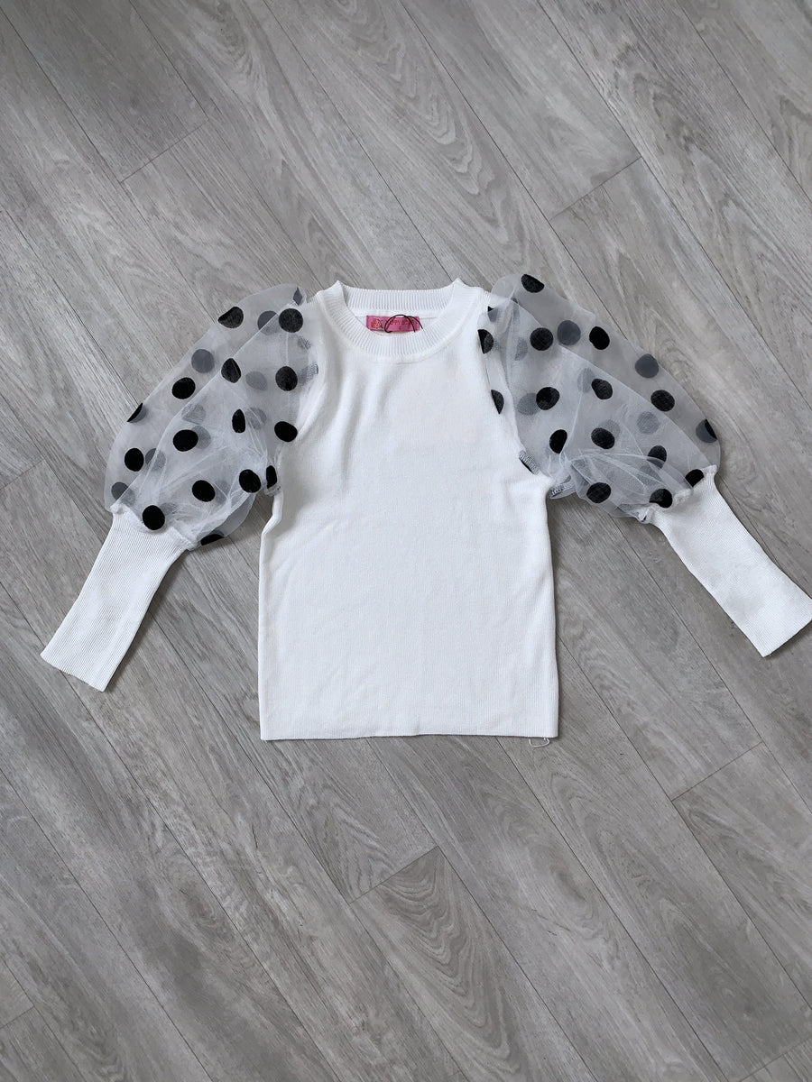 Jade Polka Dot Puff Sleeve Soft Knitted Crew Neck Top White