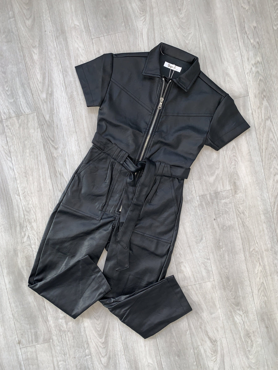 Amy Short Sleeve Belted Waist Zip Jumpsuit Faux Leather Black