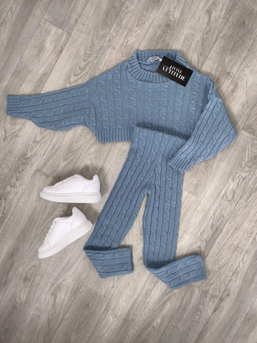 Janea Slim Fit Crew Neck Knitted Co-Ord Lounge Set Dusky Blue
