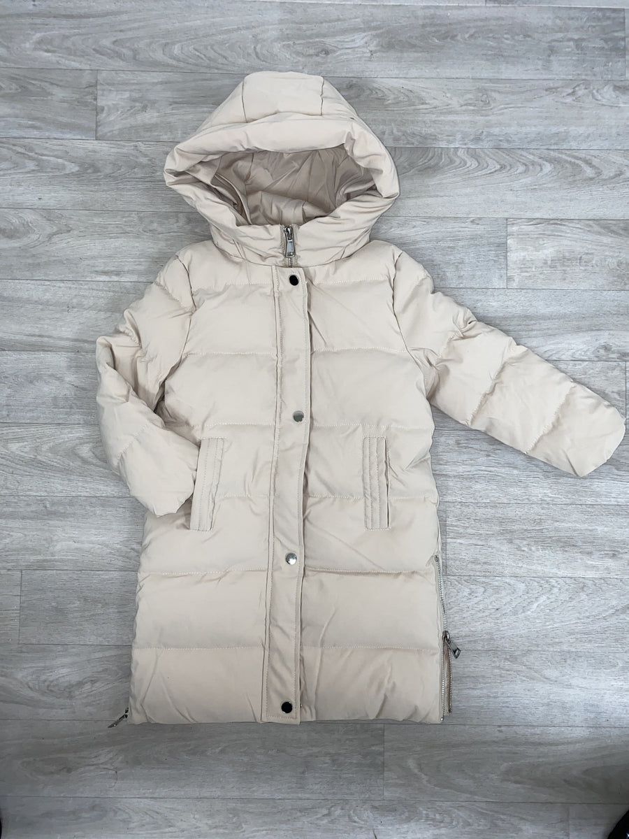 Kaavia 3/4 Puffer Padded Hooded Down Coat Nude