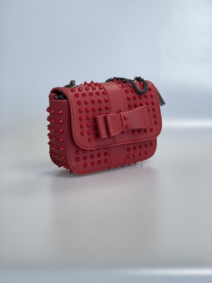 Estelle Studded Detail Mini Cross Body Bag In Red Faux Leather