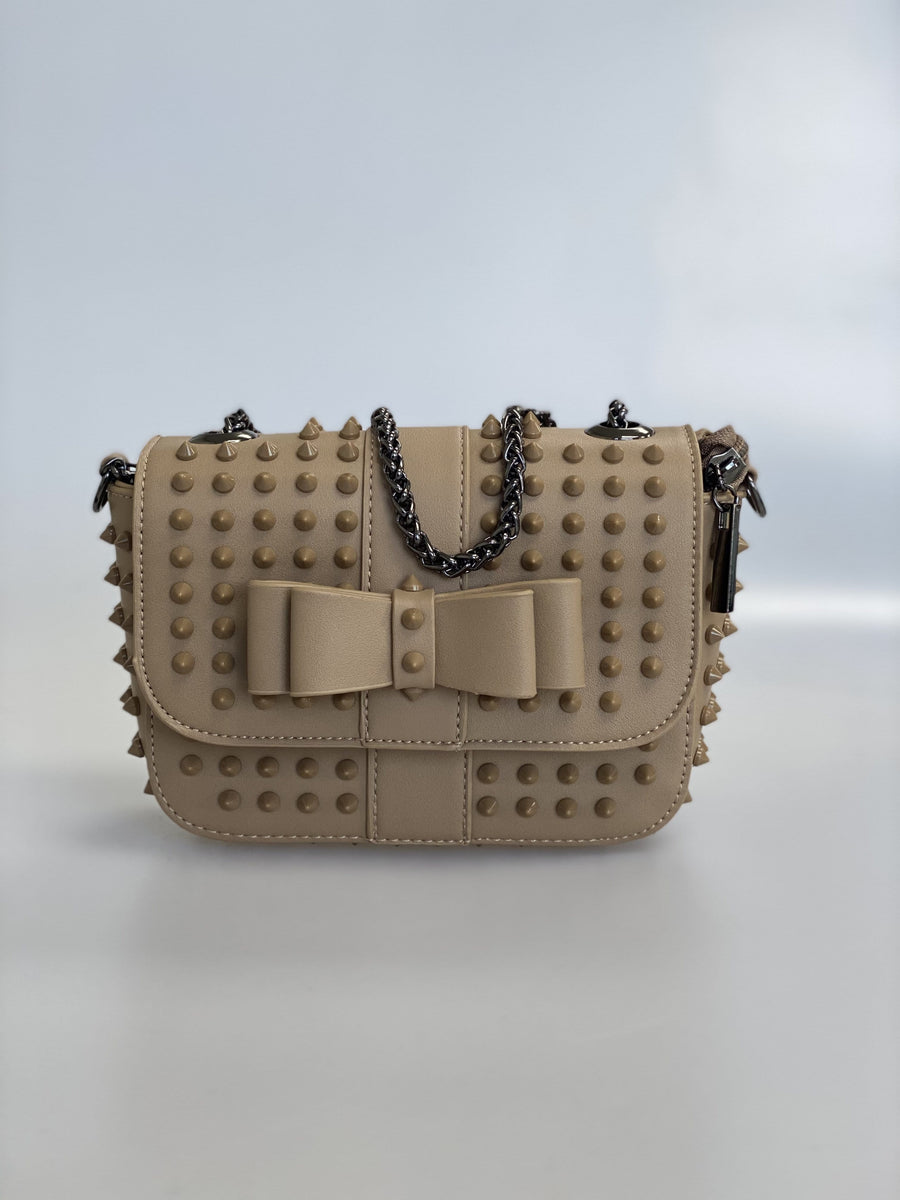 Estelle Studded Detail Mini Cross Body Bag In Nude Faux Leather