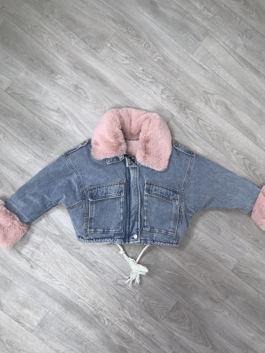 Katie Faux Fur Lined Denim Jacket Pink With Detachable Lining And Collar