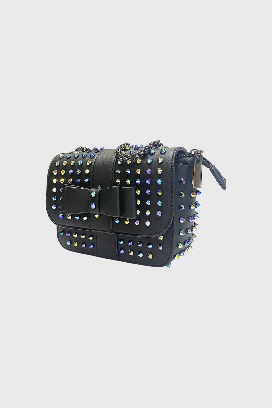 Estelle Multi Studded Detail Mini Cross Body Bag In Black Faux Leather