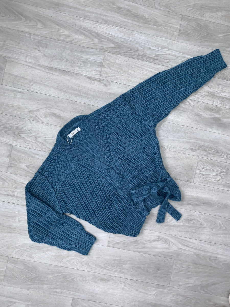 Gemma Knitted Cardigan With Tie Detailing Blue