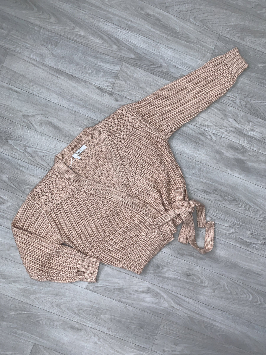 Gemma Knitted Cardigan With Tie Detailing Pink