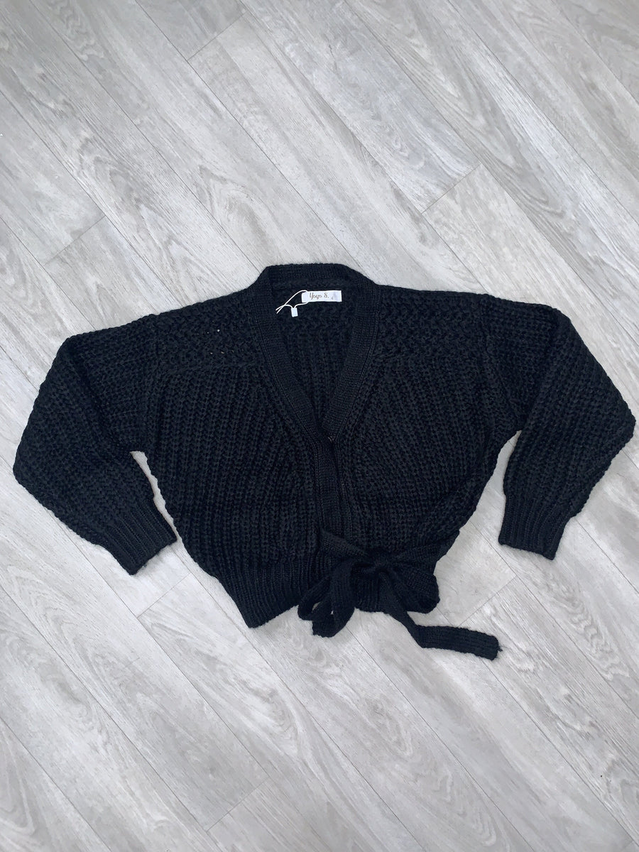 Gemma Knitted Cardigan With Tie Detailing Black