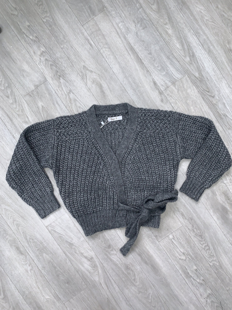 Gemma Knitted Cardigan With Tie Detailing Grey