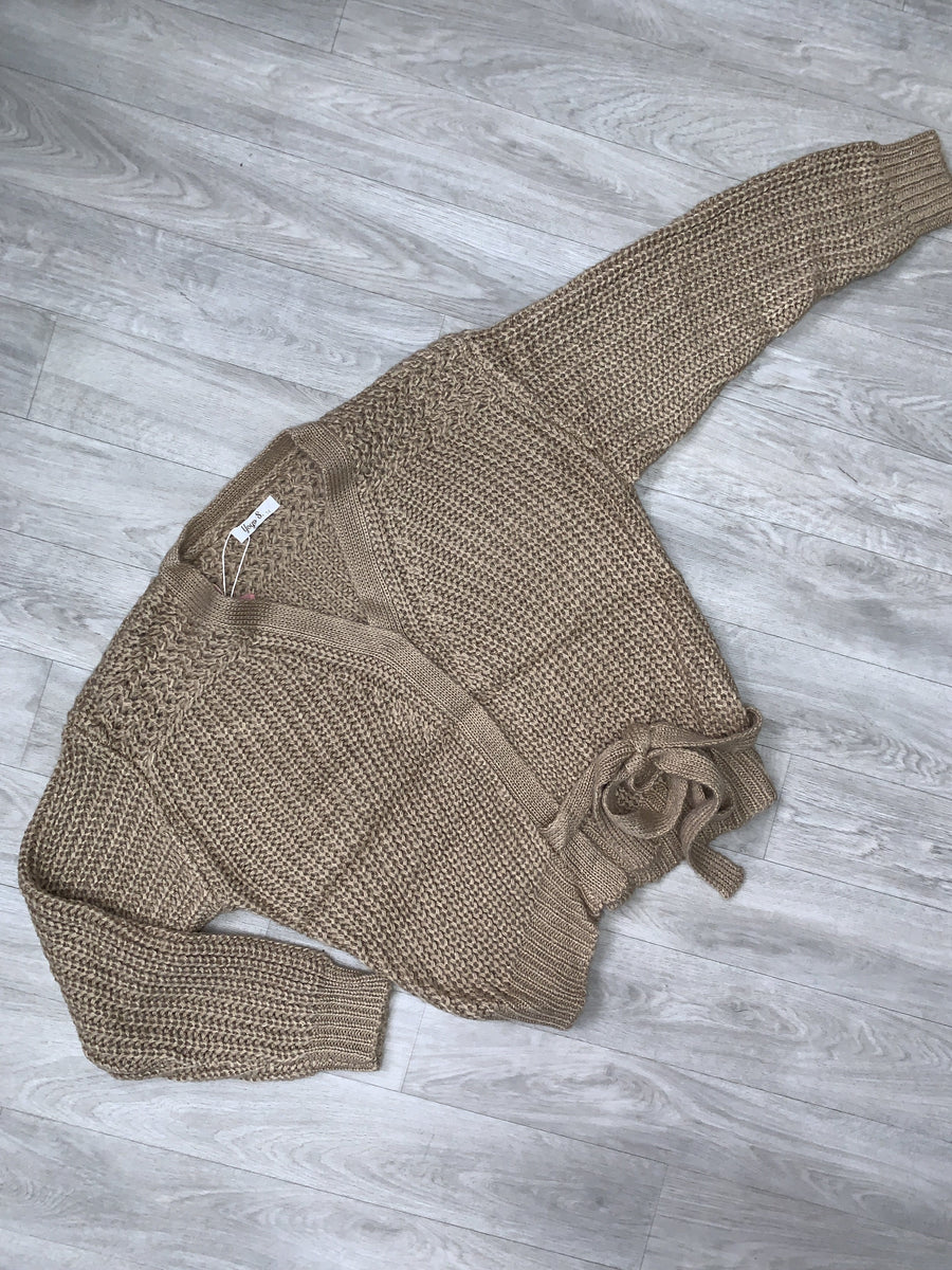 Gemma Knitted Cardigan With Tie Detailing Nude