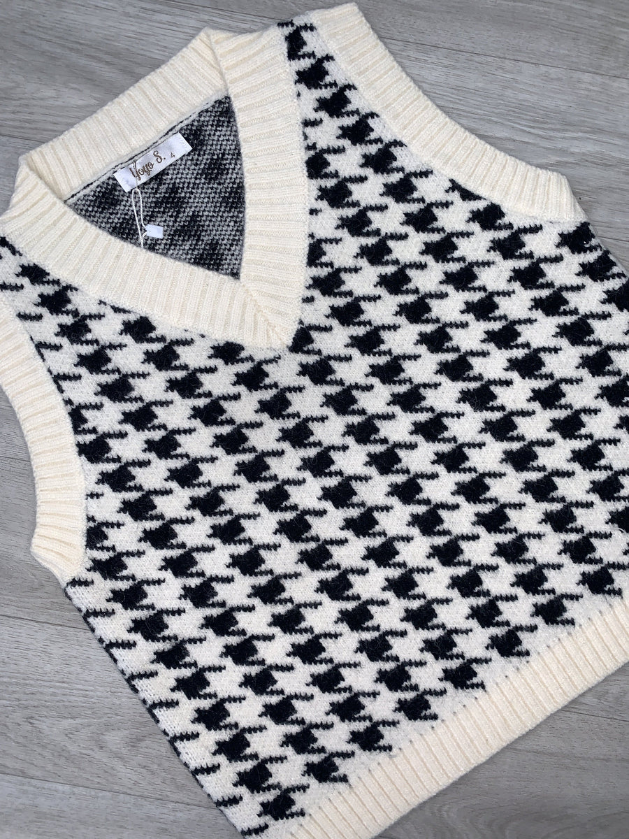 Lorna Dogtooth Sleeveless Knitted Vest Black/White